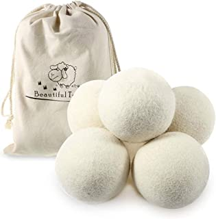 Beautiful-tech Premium Australian Wool Dryer Balls (5 Pack) (2.75 Inch) Reusable Organic Natural Fabric Softener and Static Reducer, Softens Reduces Wrinkles and Helps Dry Clothes in Laundry Quicker