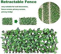 緑の色合いで装飾園芸植物で40センチメートルリトラクタブルスイングボルト人工木製フェンス、,緑