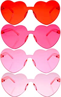 4 Pieces Heart Shaped Rimless Sunglasses Transparent Frameless Glasses Tinted Eyewear for Women and Girls Party Cosplay