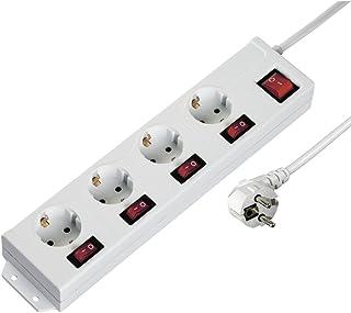Hama 4-fach Steckdosenleiste einzeln schaltbar Wandmontage, extra großer Buchsen-Abstand, Stecker 90° gedreht für gerade Anordnung, 1,4m Kabel, Kindersicherung Mehrfachsteckdose Steckerleiste weiß