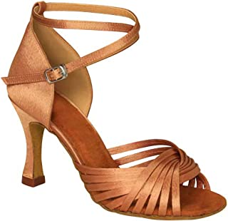 Ballroom Dance Shoes Women 3 inch Flared Heel Latin Dress Shoes Salsa Wedding Shoes, Brown