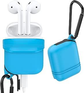 MoKo Airpods Funda para Apple, Cubierta de Goma para Auricular Inalámbrica AirPods, Funda Protectora a Prueba de Golpes y Polvo con Mosquetón Enchufe para Apple Airpods Funda de Carga, Cielo Azul