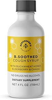 BEEKEEPER'S NATURALS B.Soothed Cough Syrup for Adults - Elderberry Extract, Chaga Mushroom, Bee Propolis Ex...
