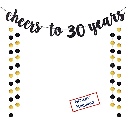 Cheers To 30 Years Gold Glitter Banner For Adult 30th Birthday Party Wedding Anniversary Decorations