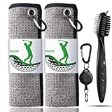 Favritt Golf Towel for Golf Bag with Clip and Accessories Set Golf Cleaning Brush Golf Club Cleaner Golf Gift for Men ,Women, Children