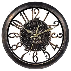 Chaney Instruments 75113 Open-Frame Antiqued Wall Clock, 14