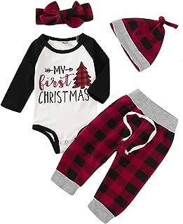 Newborn Baby Boy Girl Xmas Outfits My First Christmas Long Sleeve Romper Bodysuit Plaid Pants Hat Headband 4Pcs Clothes Set