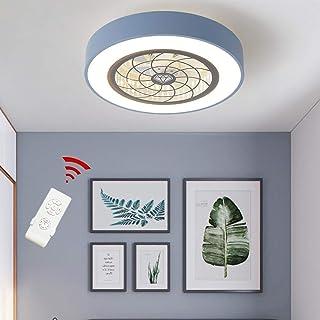 LED Ventilador de Techo Luz Dormitorio Ventilador Luz Ventilador de Techo LED Redondo Regulable Lámpara de Restaurante de Ahorro de Energía Ultra Silenciosa (Azul, 45cm)