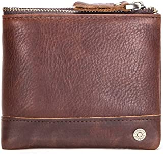 Multifunctional Genuine leather wallet, RFID blocking men's bi-fold purse, Crazy Horse cowhide card case coin purse zipper...