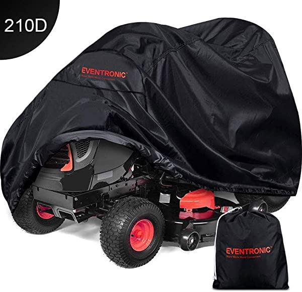 Eventronic Riding Lawn Mower Cover Riding Lawn Tractor Cover 210D Waterproof Heavy Duty Durable L71 XW47 XH43 Black