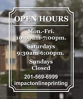 Custom Business Hours Window Decal 14