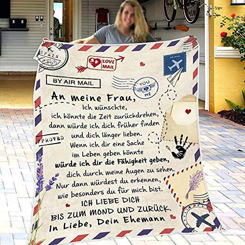 ERACII Personalisierte Flanell Briefdecke - An Meine Frau Decke, Super Weiche Decke, Luftpost Decke Positiv Ermutigen zur Liebe Geeignet Für Sofa Reisen (An Meine Frau, 150 * 200cm)