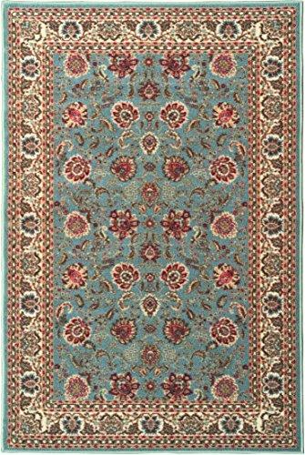Ottomanson Ottohome Collection Persian Style Oriental Rugs with Non-Skid (Non-Slip) Rubber Backing Area Rug, 98' L x 118' W, Sage Green/Aqua Blue