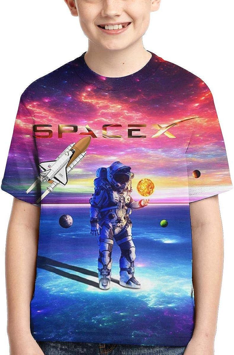 KELIDIE NASA Spacex Boy Hipster Short Sleeve T-Shirt Black