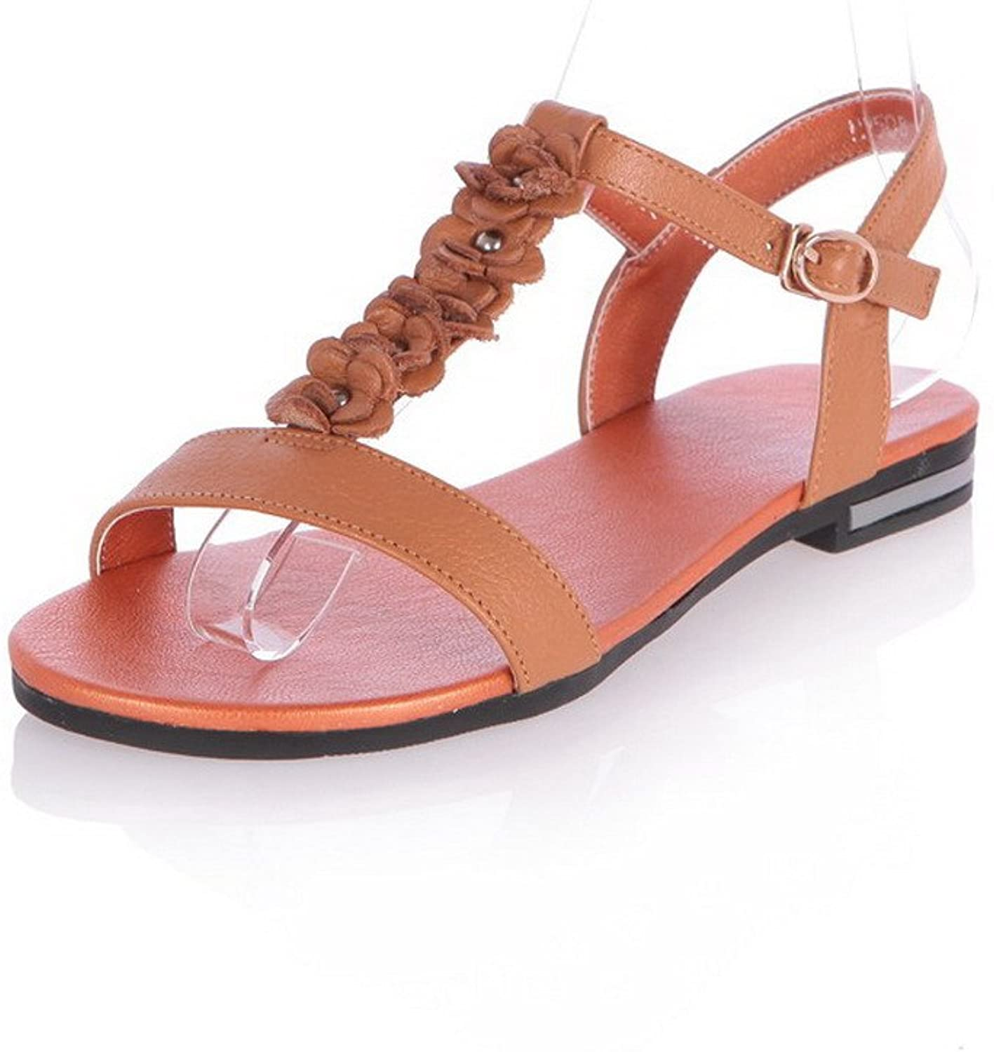 WeenFashion Women's Buckle Open Toe Low-Heels Cow Leather Sandals