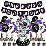 THREEMAO Undertale Party Decorations,Birthday Party Supplies for Undertale Themed Game Includes Banner - Cake Topper - 12 Cupcake Toppers - 18 Balloons - 50 Undertale Stickers