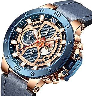 ساعة انالوج كلاسيكية بمينا زرقاء وسوار جلد اصلي للرجال من نافي فورس - NF9159-RGBEBE