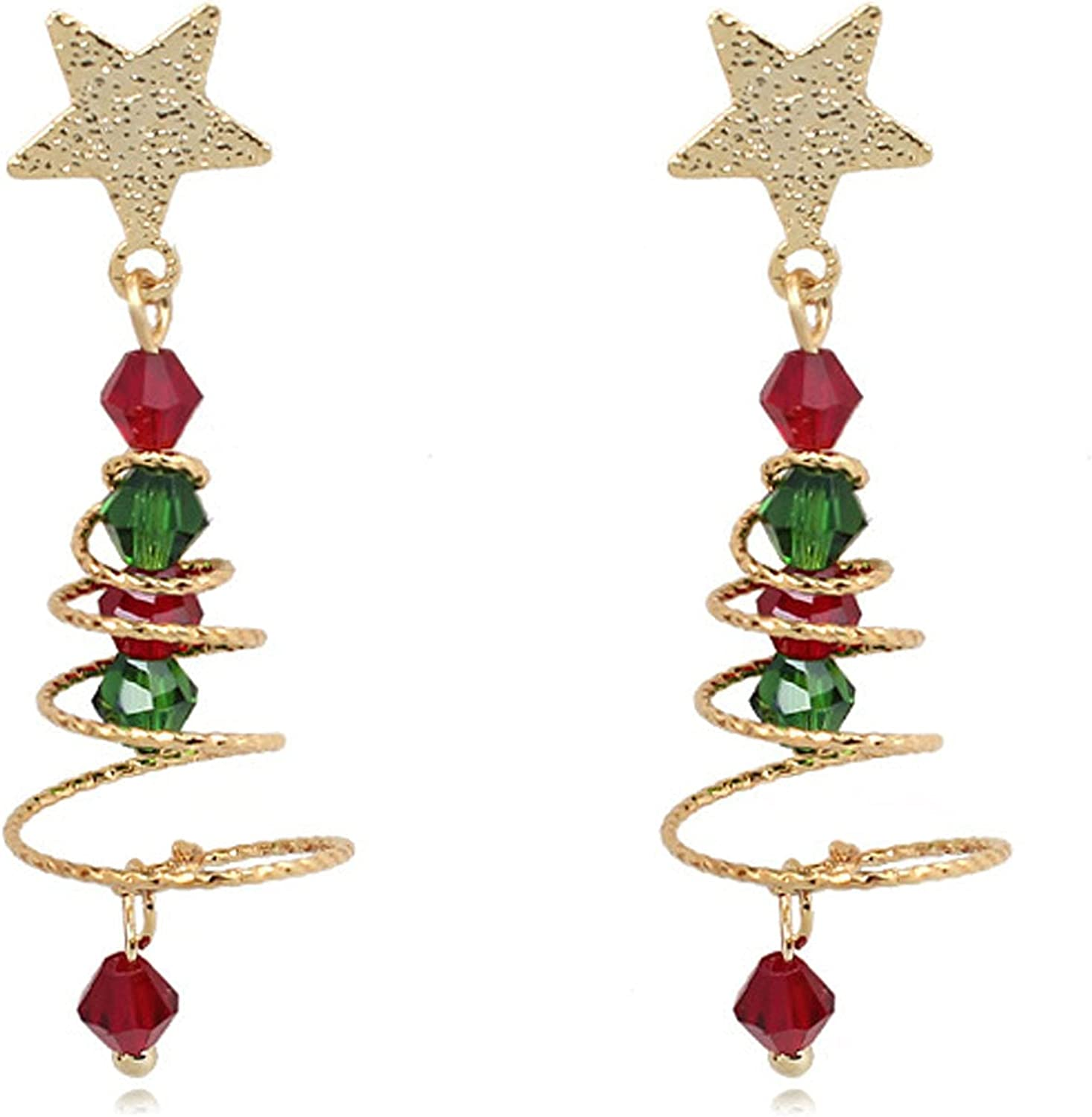 Clip on Earrings Christmas Tree Colorful Bead Spiral Dangle Earring for Women Crystal No Pierced for Girls 2021