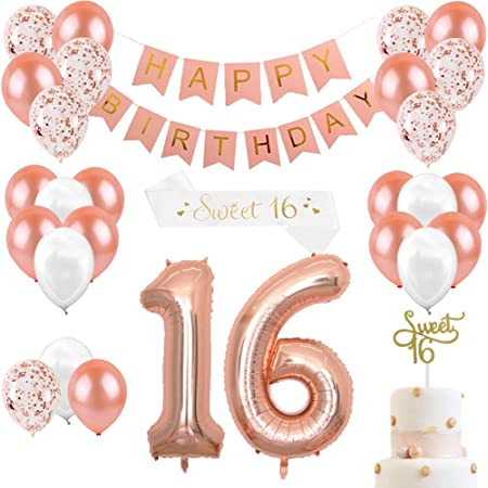 Jevenis 38 Pcs Rose Gold 16th Birthday Decorations Party Supplies Number 16 Birthday Balloons Happy Birthday Balloon Banner 16 Birthday Decorations For Her Spielzeug