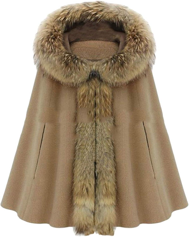 Cromoncent Women's Faux Fur Hooded Woolen Cape Poncho Outwear Pea Coat