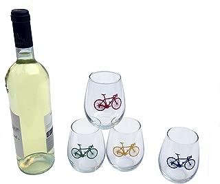 Road Bike Stemless White Wine Glasses - Set of Four
