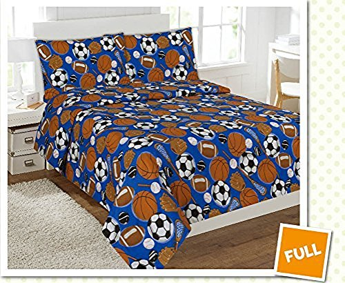 Fancy Collection 4 pc Kids/teens Sports Football Basketball Baseball Soccer Design Luxury Sheet set Full Size New