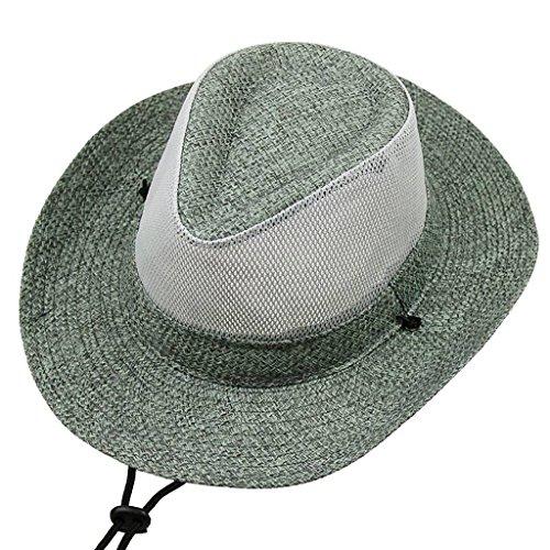 Sombrero de Vaquero del Oeste de los Hombres de Verano de Malla de respiración de Paja Plegable Gran Escalada Pesca Sombrero de Paja con Sombrero de Playa (Color : Gray)