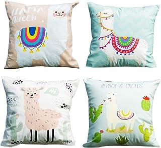 DreamJing 4 fundas de almohada de alpaca, Kawaii con dibujos animados de lama, funda de cojín decorativa para el hogar, coche, habitación de los niños, oficina, cafetería.