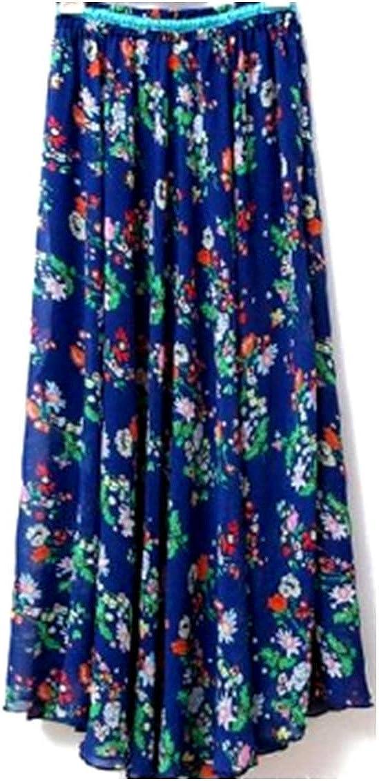 Kaxuyiiy Women's Chiffon Boho Floral Painting Elastic Waist Maxi Long Pleated Skirt