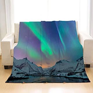 BEIVIVI Creative Design Flannel Soft Throw Blanket Northern Lights Over The Lofoten Islands in Norway All Season Blanket for Bed Or Sofa, Easy Care