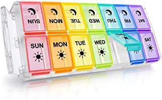 Weekly Pill Organizer 2 Times a Day Extra Large 7 Day Easy Fill 2020 Newest Version Fullicon AM PM Pill Box XL Large Daily...