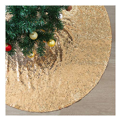 Gold Sequin Christmas Tree Skirt 48 Inches Sparkly Tree Skirt Outdoor Christmas Tree Decorations Luxury Xmas Tree Skirts