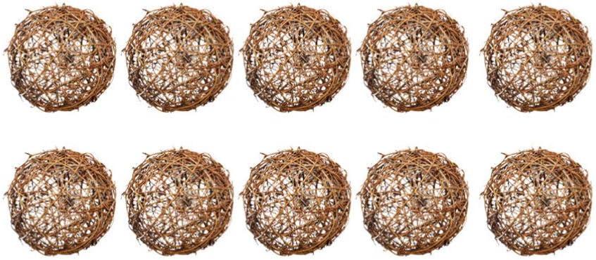 ULTNICE 10St 10cm Wicker Rattan Ball Rattankugeln Weihnachtsbaum Kugeln Ornament f/ür DIY Basteln Weihnachten Hochzeit Party H/ängende Dekoration Tischdeko Wanddeko Vogel Kauspielzeug