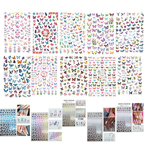15 Design Butterfly Nail Art Water Transfer Stickers Decals Polish Slider Flowers Full Cover Tattoo Films for Women Fingernails Toenails Decoration Manicure