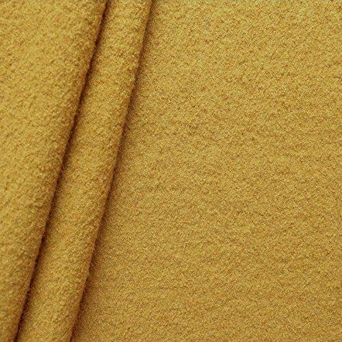 STOFFKONTOR Walkloden Stoff, Wollstoff Meterware aus 100% Wolle, Curry-Gelb