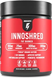 Inno Shred - Day Time Fat Burner | 100mg Capsimax, Grains of Paradise, Organic Caffeine, Green Tea Extract, Appetite Suppressant, Weight Loss Support (60 Veggie Capsules) | (with Stimulant)