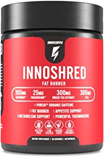 Inno Shred - Day Time Burner | 100mg Capsimax, Grains of Paradise, Organic Caffeine, Green Tea Extract (60 Veggie Capsules...