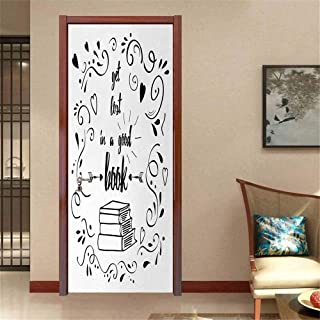 Book Door Mural Stickers Get Lost in a Good Book Printed Quote with Hand Drawn Floral Pattern with Books Arrow Landscaping Decoration Black White W23.6 x H78.7 INCH