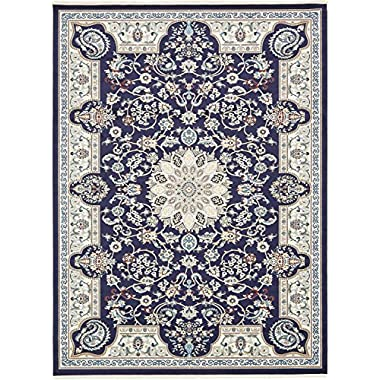 Unique Loom Narenj Collection Classic Traditional Medallion Textured Navy Blue Area Rug (10' x 13')
