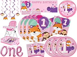 One is Fun Girls 1st Birthday Tiger Monkey & Hippo Zoo Themed Party Supplies Kit - Plates & Napkins for 24 - Giant Party B...