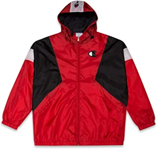 Mens Big and Tall Colorblock Zip Up Hooded Nylon Wind Breaker Jacket