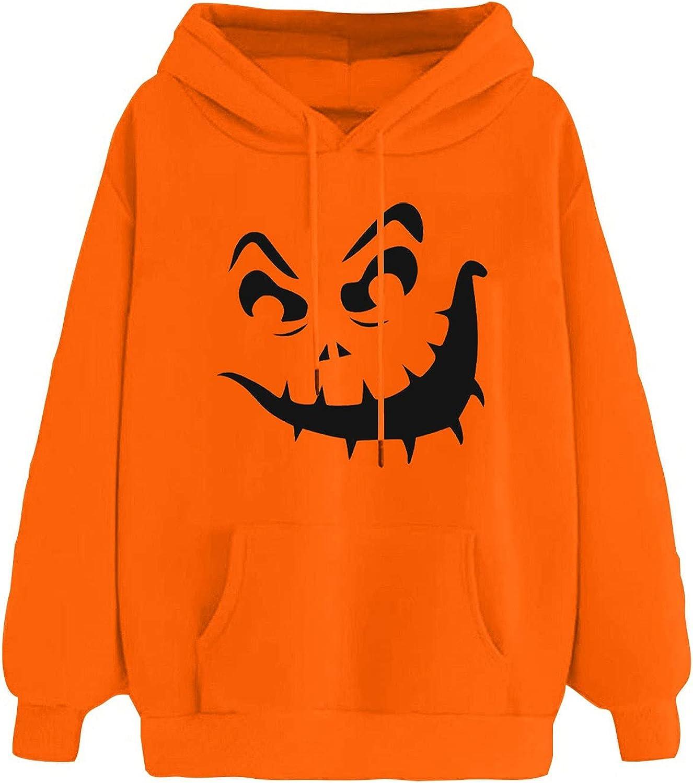 Halloween Women Finally popular brand Long Sleeve Casual Skeleton Selling Hoodies,Pumpkin