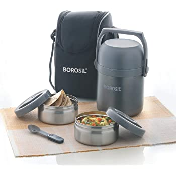 Borosil Hot-N-Fresh Stainless Steel Insulated Lunch Box, Set of 2, 420 ml, Grey