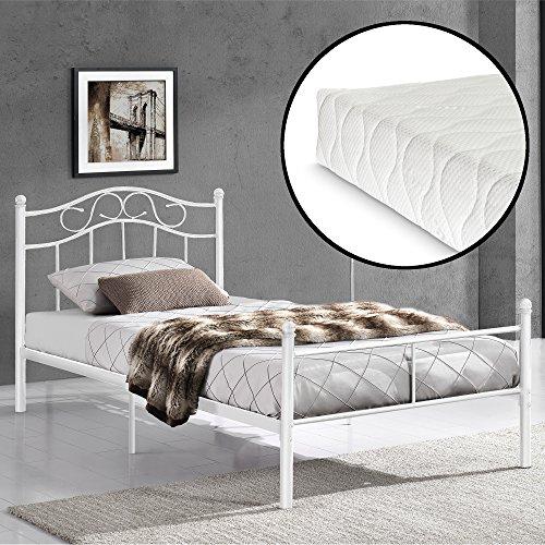 [en.casa] Metallbett 120x200 Weiß mit Lattenrost und Matratze Jugendbett Bett Metall Bettgestell