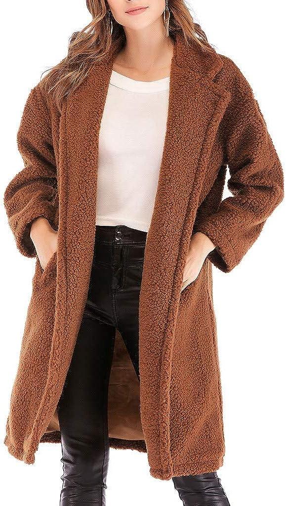 Teddy Bear Long Jackets for Women, NRUTUP Faux Fur Teddy Jacket, Winter Trench Coat for Office Work, Winter Coat