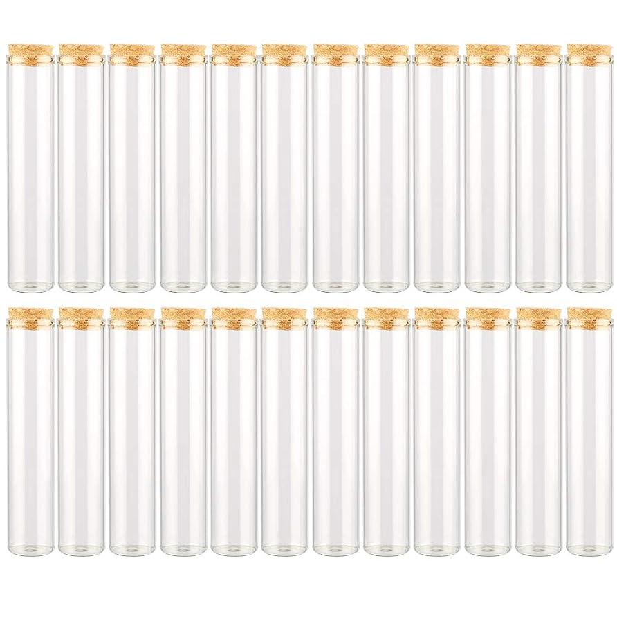 びっくり光のあたりEC Labmouse シンプル ガラス瓶 コルク栓 24本セット 30ml 透明 ガラス製 アロマオイル 香水 花材 ビーズ 調味料 試験管 (30ml 24本)