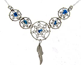 By Navajo Artist Lorenzo Arviso: Beautiful! Sterling-silver Navajo Dream Catcher Turquoise Necklaces