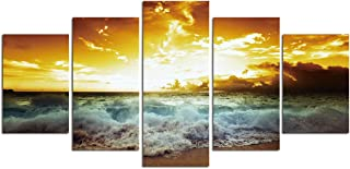 Sea Wave Wall Art Canvas- 5 Panel Canvas Paintings for Living Room Sunset Landscape Poster Seascape Artwork Large Giclee Print Home Office Modern Decoration Kitchen Ocean Beach Picture Unframed