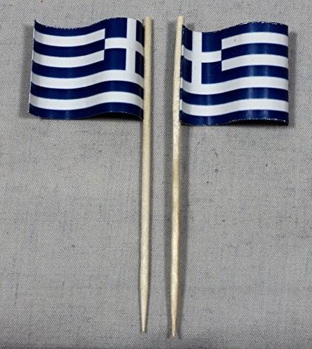 Buddel-Bini Party-Picker Flagge Griechenland Papierfähnchen in Spitzenqualität 50 Stück Beutel