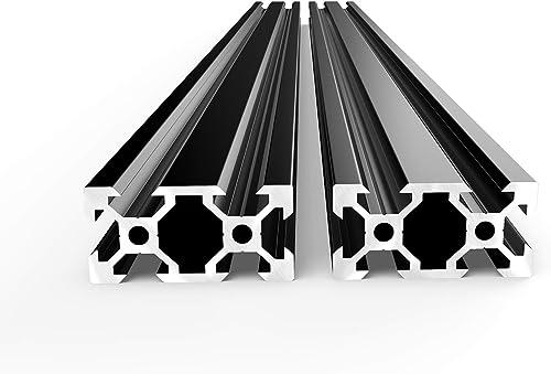 FEYRINX 2PCS 2040 Aluminum Extrusion Profile European Standard Anodized Black V Type Linear Rail for 3D Printer, Leng...